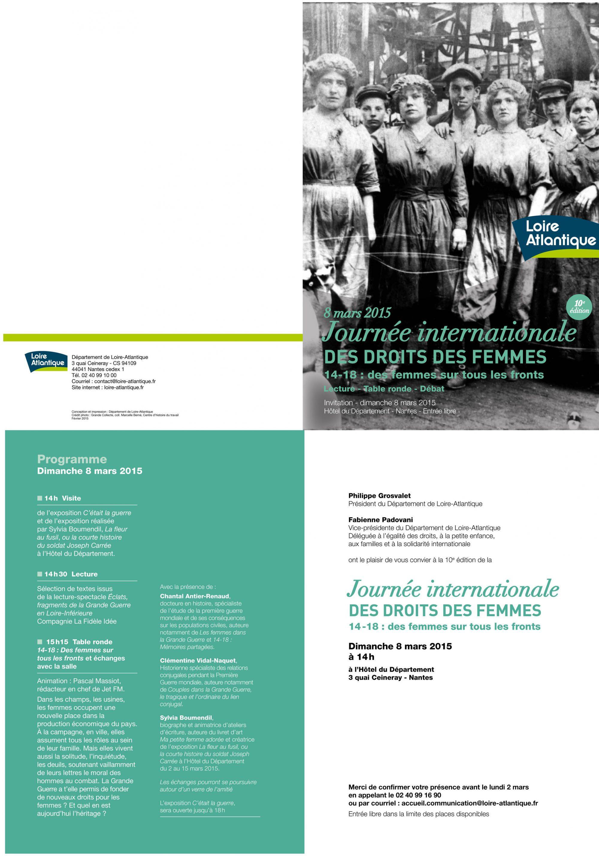 LA FLEUR AU FUSIL - Participation à la table ronde sur les femmes pendant la grande guerre - 8 mai 2015